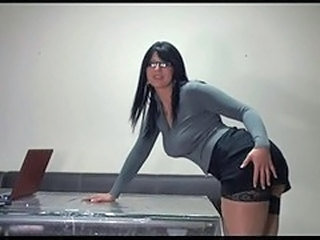 Amazing Ass Bus Glasses MILF Office Secretary Stockings