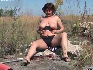 Big Tits Chubby Lingerie Mature Natural Outdoor SaggyTits