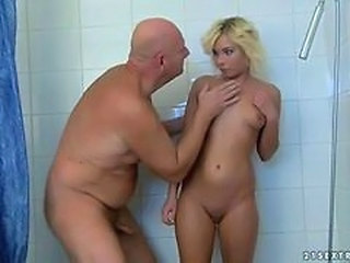 Bathroom Blonde Cute Daddy Daughter Old and Young Teen