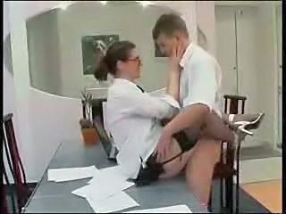 Clothed Glasses MILF Office Secretary Stockings