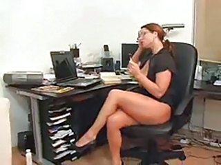 European German Glasses Legs MILF Office Redhead Secretary