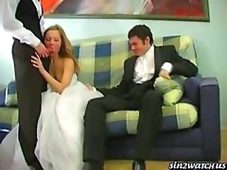 "Sexy Bride gets fucked by two groomsmen"" target=""_blank"