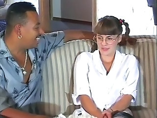 Glasses Interracial Pigtail Virgin