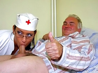 Blowjob Daddy Glasses Nurse Old and Young Small cock Uniform