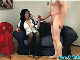 Cfnm group femdom stocking blowjob