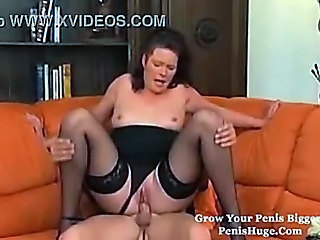 Chubby German MILF Panty Riding Stockings