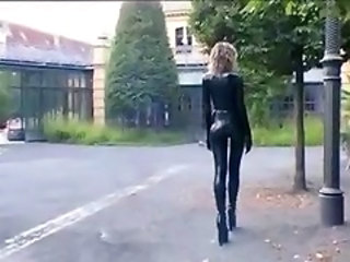 Amazing Ass Latex Legs Outdoor Public