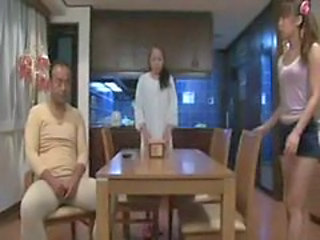 Asian Daddy Daughter Family Japanese Kitchen Old and Young Teen