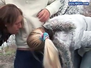 Blowjob Clothed Extreme Outdoor Threesome