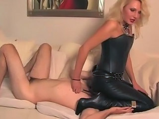 CBT punishment w leather knee high scullery-maid