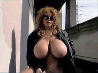 Big Tits Glasses MILF Outdoor Silicone Tits