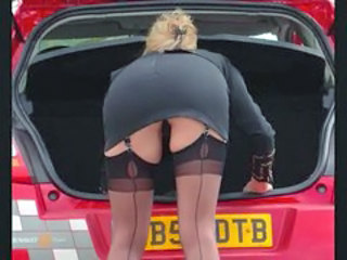 Ass Car Public Stockings Upskirt