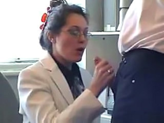 Clothed Glasses Handjob MILF