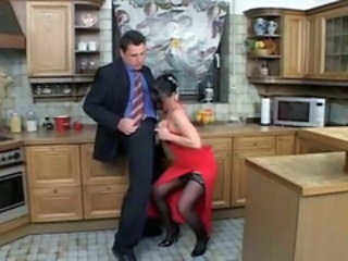 European Kitchen MILF Stockings Tits job