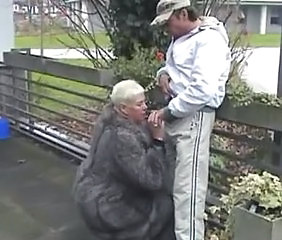 Blowjob Clothed European German Outdoor Public