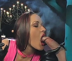 Amazing Big cock Blowjob Latex MILF Pornstar Smoking