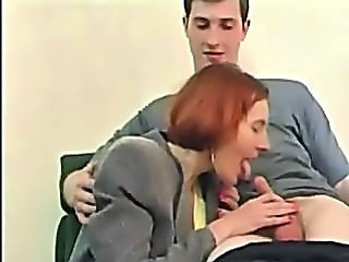 Blowjob Clothed Mature Old and Young Redhead