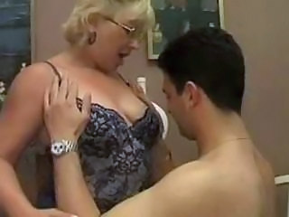 Blonde Chubby Glasses Lingerie Mature Mom Old and Young