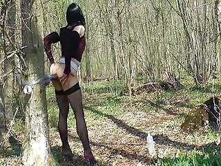 Tranny toying in the forest