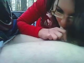 Amateur Blowjob Car Girlfriend Glasses Small cock