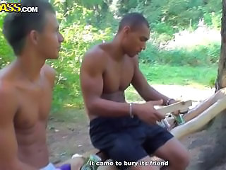 Several students organize picnic in the forest. This events transform in wild orgy.