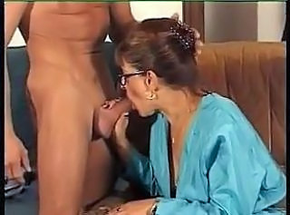 Blowjob European French Glasses Mature Mom Old and Young
