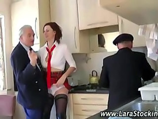 British European Kitchen Mature Old and Young Threesome
