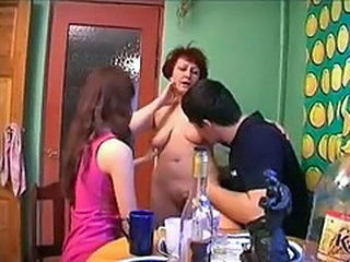 Drunk Family Mom Russian Threesome