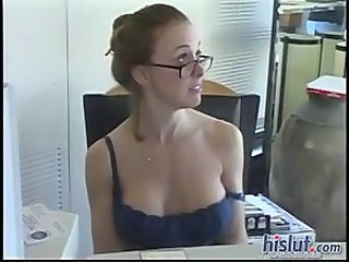 Big Tits Glasses MILF Office