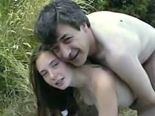 Amateur Daddy Daughter Old and Young Outdoor
