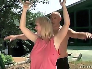 Busty grandma fucking with her trainer