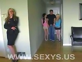 2 sweet teens and a hot milf in a blowjob lessons