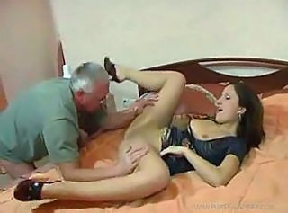 Daddy Licking Old and Young Pantyhose