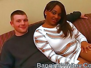 Chubby Ebony Girlfriend Interracial
