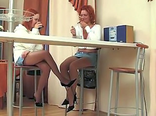 Drunk Kitchen Legs Lesbian Redhead Smoking Stockings