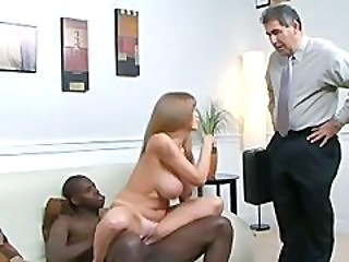 Big Tits Cuckold Interracial MILF Riding Wife