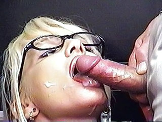 Blonde Cumshot Glasses MILF Swallow