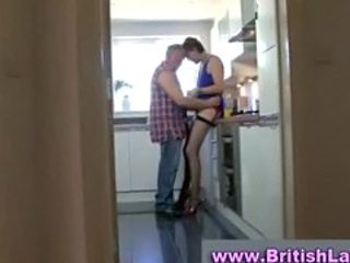 Horny mature in stockings and heels seduces builder