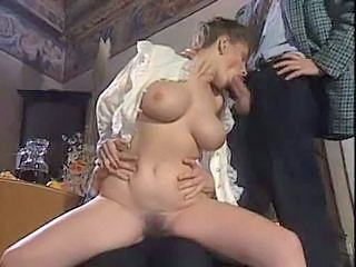 Amazing Big Tits Blowjob European French MILF Threesome Vintage