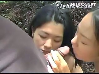 Asian Blowjob Japanese Outdoor Small cock Threesome