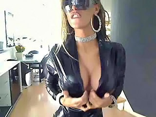 Extraordinary Striptease Scene From Busty Slut In Leather Suit