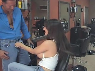Hot Busty Brunette Cougar Banged By Hairdresser