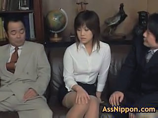Asian Old and Young Secretary Stockings Threesome