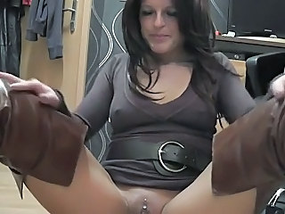 Amateur Amazing European German MILF Piercing Solo