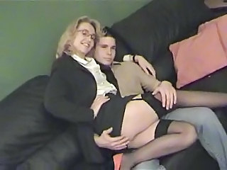 British European Glasses MILF Stockings Wife