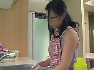 Asian Glasses Kitchen MILF Mom