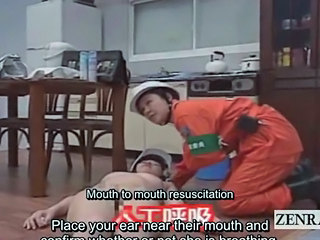 Subtitled Japanese nudists mouth round mouth CPR seminar