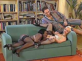 Ebony Interracial Licking Mature MILF Pornstar Stockings Threesome
