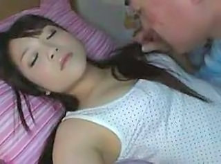 Asian Cute Daughter Sleeping