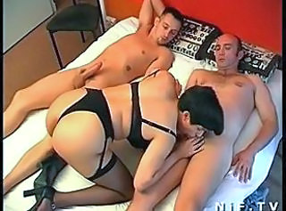 Blowjob European French Hairy  Lingerie Stockings Threesome